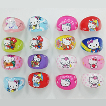 10Pcs Fashion Hello Kitty Rings Lovely Boys Girls Ring Animation KT Hello Kitty Children Jewelry Wholesale Bulks Lots LB401(China)
