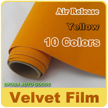 Wholesale Yellow Peach Skin Vinyl Velvet Film Self-adhesive Tuning protective Film Car Sticker 1.35m*15m(4.4ft*49ft)