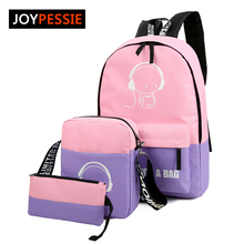 JOYPESSIE Sets girl Luminous women Backpacks Nylon School Bags fluorescence Backpack For Teenager Book bag mochila light bag