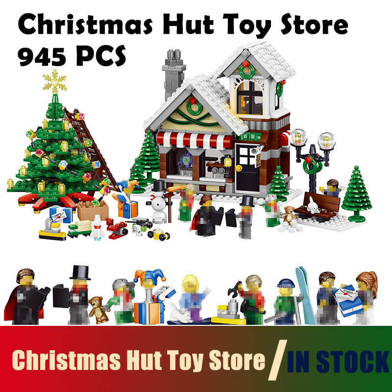Compatible with Lego Model Building Blocks 36002 945pcs My World Winter Christmas Hut Toy Store House Building Blocks For kids<br>