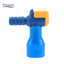 Silicone Outdoor Camping Water Bags Bite Valve 90 Degree Straight Hydration Pack Water Suction Nozzle Essential Black/Blue Color