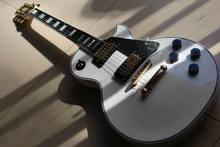 Wholesale Cibson LP Custom 1960 Electric Guitar Ebony fretboard with Real Pearl mother inlay Large diamond In White 121008