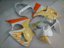 Full Body Kits ZX6r 636 2000 - 2002 02 White Yellow Flame Fairing Ninja ZX-6r 00 Full Body Kits for Kawasaki ZX6r 2002