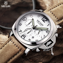 MEGIR Mens Chronograph Waterproof Multifunction Quartz Watches Military Leather Sport Analog Auto Date Digital Original Watches