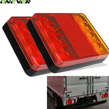 2Pcs 8 LEDS Car Truck Rear Tail Light Warning Lights Rear Lamps Waterproof Tailights Rear Parts for Trailer Truck Boat DC 12V(China)