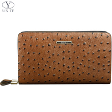 YINTE Men's Wallet Genuine Leather England Style Clutch Bag Passport Purse Men Wrist Bag Ostrich Pattern Cow Leather T025-2(China)