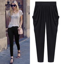 Big size milk silk, fat mm, Haren pants, female summer loose leisure nine points pants, 200 jins fat sister 01(China)