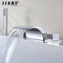 5 Pcs Waterfall Gutter Bathroom Bathtub Faucet Single Handle Set / Cover Valve + Handheld Shower Mounted Chrome Finish(China)