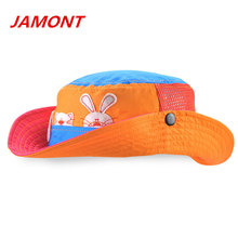 [JAMONT] cute rabbit dog printed children bucket hat boys and girls summer sun hats breathable sunshade caps snapback caps