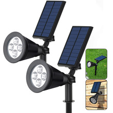 1/2Pcs Outdoor Solar Lights 4 LEDs Waterproof Landscape Lighting Spotlight Wall Light for Yard Garden Pool CLH@8(China)