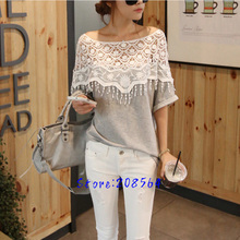 Women Cute Lace Crochet Batwing Sleeve T shirt Hand Cloak Neck T-shirt Tees Hollow 0081