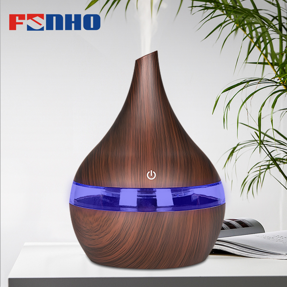FUNHO 300ml USB LED Electric Aroma Air Diffuser Wood Ultrasonic  Humidifier For home Essential Oil Aromatherapy Cool Mist Maker (China)