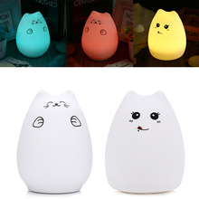 Creative Cute Cat LED Night Light For Children Baby Kids Multicolor Silicone Bedside Lamp Touch Sensor Tap Control Night Lamp(China)