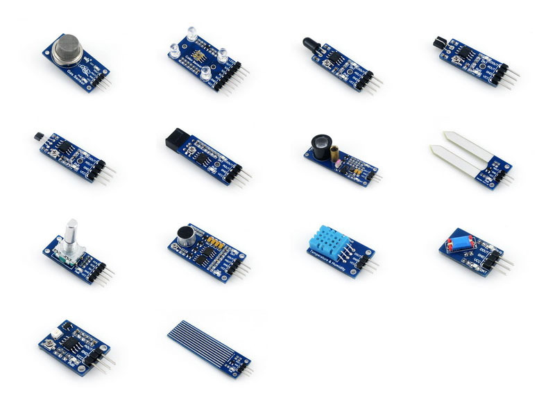 Sensor Module Pack For Arduino Gas Color Flame Metal Hall IR Laser Soil Moisture Rotation Sound Temperature Tilt UV Sensor<br>