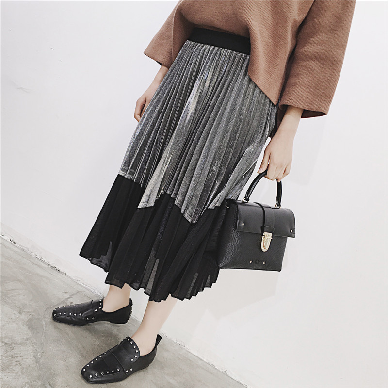 [GUTU] Autumn Summer 2018 Korean New Fashion Patchwork Color Bottoms All-match Elastic Waist Pleated Skirt Loose Women F89201 43
