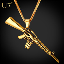 U7 American Style Punk Rock Jewelry Men Women Pendant Necklace Gold Color Stainless Steel Machine Gun Necklace P732
