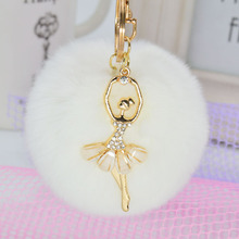 LNRRABC 2016 Fashion Women Rabbit Fur Cony Hair Dancing Angel Rhinestone Ball Pom Pom Car Keychain Handbag Key Ring Pendant