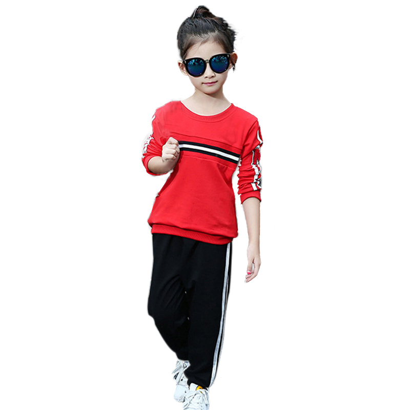 2017 Baby Striped Autumn Winter Style 2pcs/set Kids Cotton Printed School Tracksuit Uniform Sport Suit Girls Clothing Sets<br><br>Aliexpress