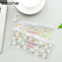 EZONE Transparent Zipper Mini Pencil Case Pencil Bag Kawaii Rabbit Flower Fox PVC File Document Bag Invoice Folder Papelaria(China)