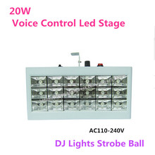 KTV  20W Voice Control Led Stage DJ Lights Strobe Ball Disco Flash Light RGB Club Party Stage Effects For The Stage AC110-240V