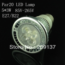 20Pcs/lot Par20 Led Lamp E27 Dimmable 5X3W 15W Spotlight Led Light Led Bulbs 85V-265V Energy Saving dhl Free shipping