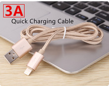 MFI 2A 8 Pin Quick Charger Cable for iPhone 7 6 6s plus 5 5s 5c iPod Nylon Braided Charging Cables Data & Sync Cord