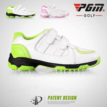 New PGM children golf boy and girl shoes 3D Air-permeable slot patent shoes anti-skid Fixed nails 2 color(China)