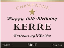 10 units custom PERSONALISED PINK CHAMPAGNE BOTTLE LABEL BIRTHDAY WEDDING CHRISTMAS ANY OCCASION