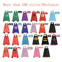25pcs/ Kids Superhero Capes-Double Sides Satin Fabric Super Hero cape+mask Party Supplies for Children's Birthday Party Cosplay(China)