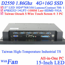 Factory 15 inch TouchScreen All in One PC with high temperature 5 wire Gtouch industrial embedded 4: 3 6COM LPT 4G RAM 16G SSD