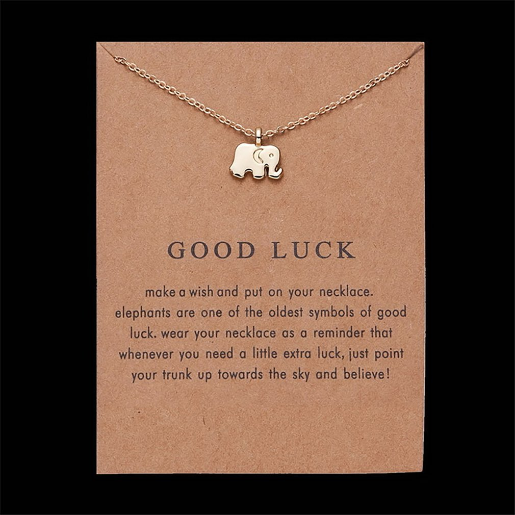 Fashion Good Luck Paper Card Alloy Lucky Elephant Necklace Alloy Necklace Accessories For Women For Daily Wear