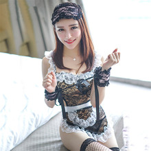 Buy Porn Lenceria Sexy Maid Costumes Erotic Lingerie Sexy Black Lace Babydoll Dress Role Play Sex Clothes Sexy Lingerie Maid Uniform