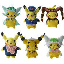 28-30cm New Style Pikachu Cosplay Gallade Lopunny Ampharos Gardevoir Aircraft Commander Airline Stewardess Plush Dolls Toys(China)