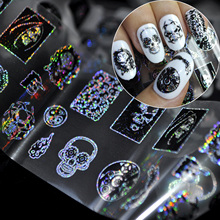 100*4cm Punk Style Zombie Design Nail Foil Stickers Glue Transfer King Skull Head Cute Nail Design Halloween Decoration SY679