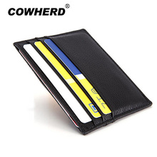 Ultra-thin Card Holder Mini wallets small Genuine Leather purse real leather Card Case With 6 Slots Fashion Style New 3051