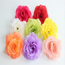 50Pcs/lot Artificial Flowers Silk Flower Roses Hibiscus Bud Flowers Hand Made Diy Head Garlands For Wedding Home Decoration(China)