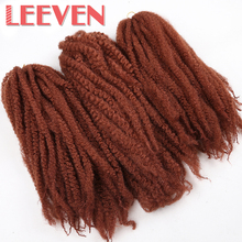 Leeven Afro Kinky Twist Braiding Hair Synthetic Crochet DIY Braids High Temperature Fiber Hair Extension 18''1piece Burgundy