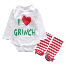 2016 New Newborn Baby Girls Love Heart Romper+Leg Wamer 2pcs Outfit Christmas Clothing Set