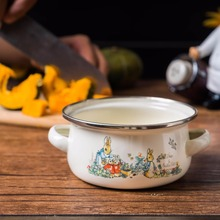 Japanese cartoon porcelain enamel baby rice paste milk pot household tableware dessert ears cooking bowl small mini pan stockpot(China)