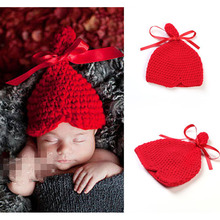 Crochet Pattern Baby Hat with Ribbon Bow Newborn Infant Photography Props Knitted Children Winter Hat & Cap Retail H088
