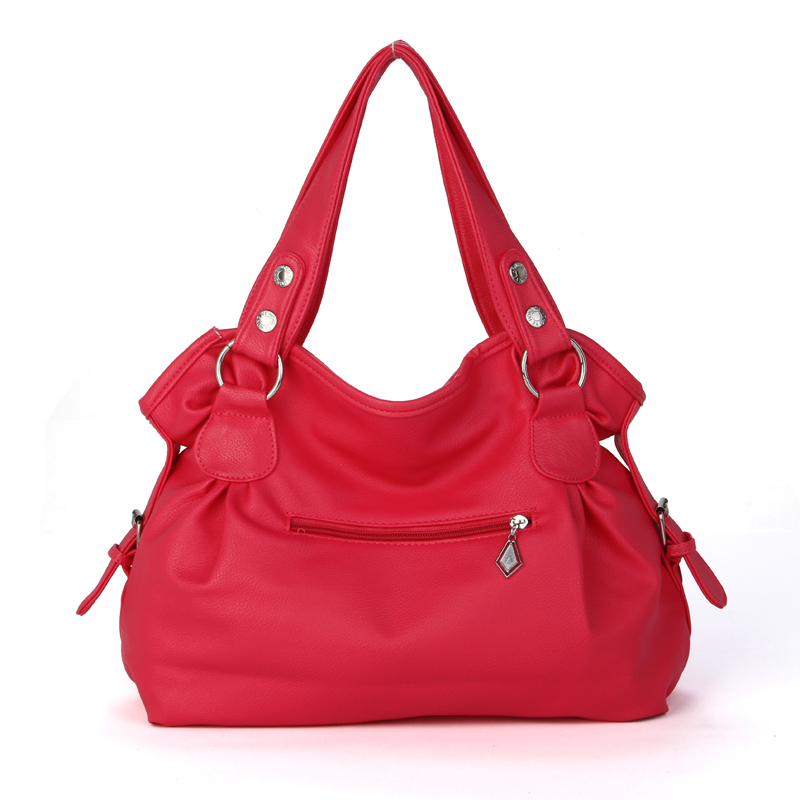 new 2015 fashion candy pink leather women shoulder bag bolso sac a main femme bolsas feminina tote purses and handbag for women<br><br>Aliexpress