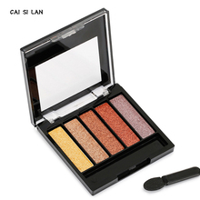 Eyeshadow palette cosmetics 5 colors matte naked and glitter professional shadow  natural make up cosmetics with brush.