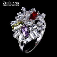 Edgy Flower Ring Multicolor Cubic Zirconia Ring Fiendship Gifts Women Mood Ring Wholesale Classical Wedding Ring Sieraden WR107