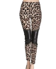 women slim fashion leggings lady skinny leopard legging female fake leather patchwork pants spring summer pant