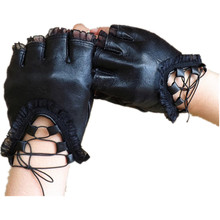 Fashion Stage Performance Genuine Leather Fingerless Gloves Sexy Lace Straps Female Gloves Women Drive Mittens Moto Gloves Mitts