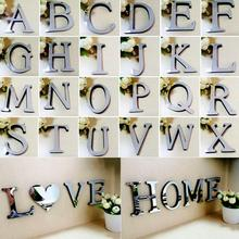 3D Mirror Acrylic Wall Stickers English Letters Alphabet Decal Art Mural Wall Sticker DIY Home Decoration