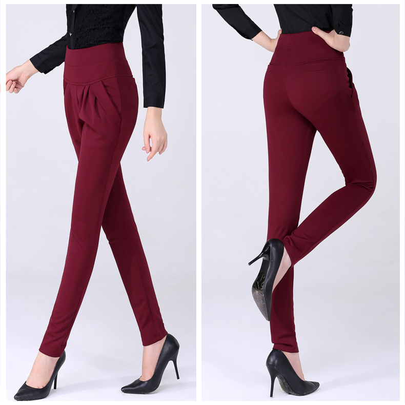 New Autumn Women Casual Loose High Waist Harem Pants Ladies Office Pants Plus Size Trousers S~4XL 5XL 6XL Blue Red Khaki Brown 4
