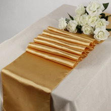 "Top quality Satin Banquet Table Runners 12"" x 108"" Celebration party table cloth Gold color(China)"