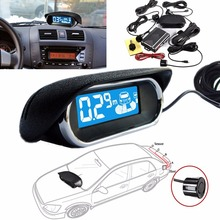 LED Wireless Car Rear View Reverse Backup Radar System Reversing Buzzer Kit 4 Parking Sensor+LCD Display Monitor