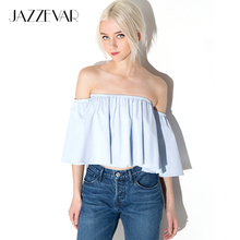 JAZZEVAR New Summer Fashion Trend Women's Smock Top Off Shoulder Brief Ruffles Girl's PETITE Structured Bardot Short Blouse